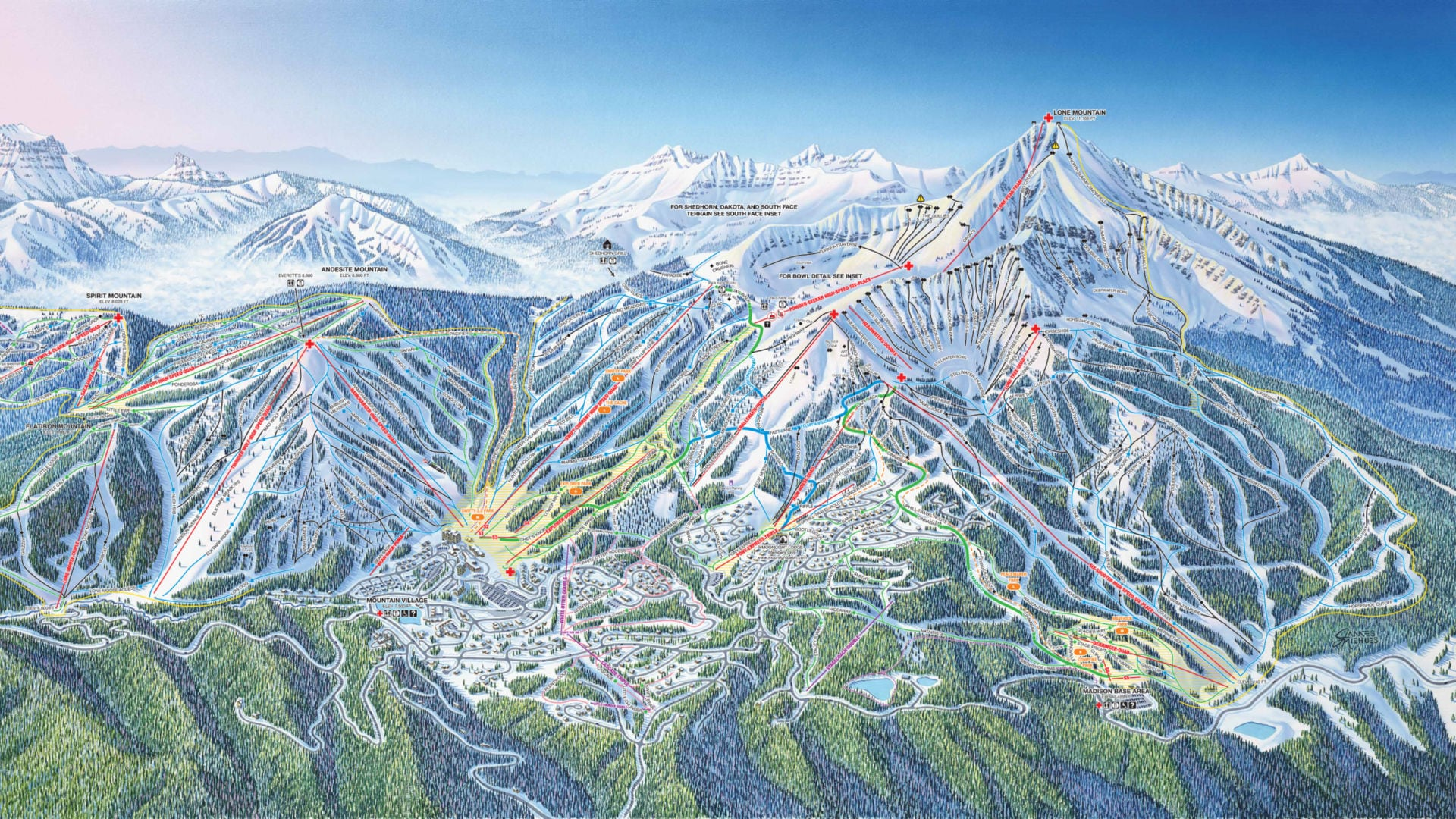 Mountain, Resort & Trail Maps | Big Sky Resort, Montana