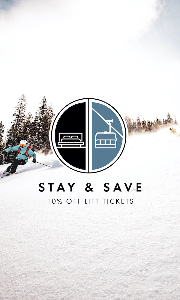"Image of a skier with an icon overlay and the text ""Stay & Save: 10% off lift tickets"""