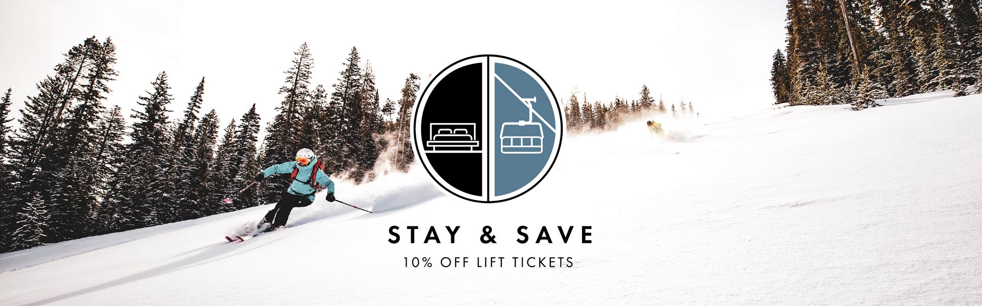 "Image of skiers with an icon with text: ""Stay & Save 